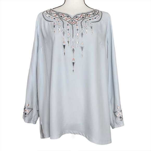 Bob Mackie Embroidered Peasant Blouse